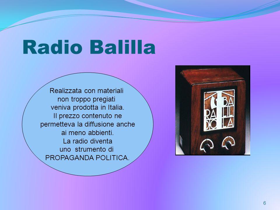 6 Radio Balilla Realizzata con materiali non troppo pregiati veniva prodotta in Italia. Il prezzo contenuto ne permetteva la diffusione anche ai meno