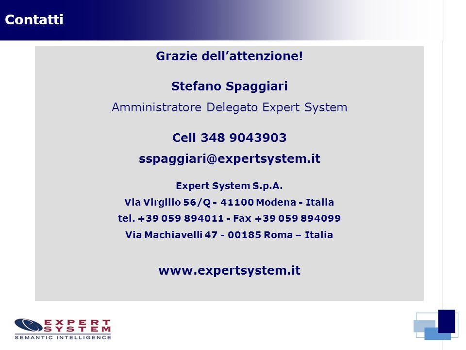 Grazie dellattenzione! Stefano Spaggiari Amministratore Delegato Expert System Cell 348 9043903 sspaggiari@expertsystem.it Expert System S.p.A. Via Vi