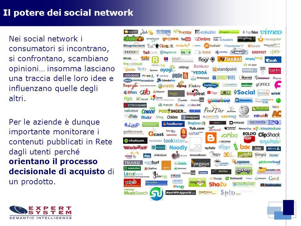 Il potere dei social network Nei social network i consumatori si incontrano, si confrontano, scambiano opinioni… insomma lasciano una traccia delle lo