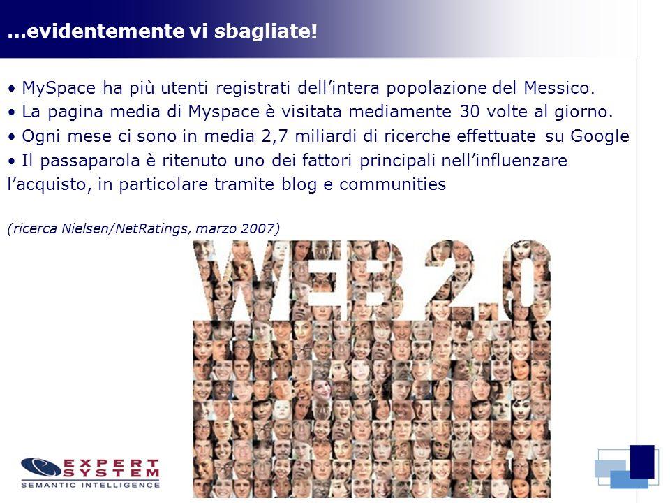 …evidentemente vi sbagliate! MySpace ha più utenti registrati dellintera popolazione del Messico. La pagina media di Myspace è visitata mediamente 30