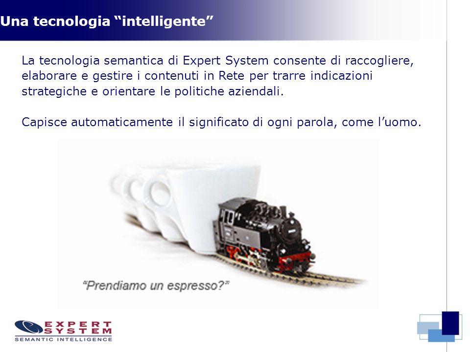 Una tecnologia intelligente La tecnologia semantica di Expert System consente di raccogliere, elaborare e gestire i contenuti in Rete per trarre indicazioni strategiche e orientare le politiche aziendali.
