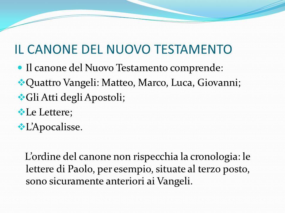 IL CANONE DEL NUOVO TESTAMENTO Il canone del Nuovo Testamento comprende: Quattro Vangeli: Matteo, Marco, Luca, Giovanni; Gli Atti degli Apostoli; Le L