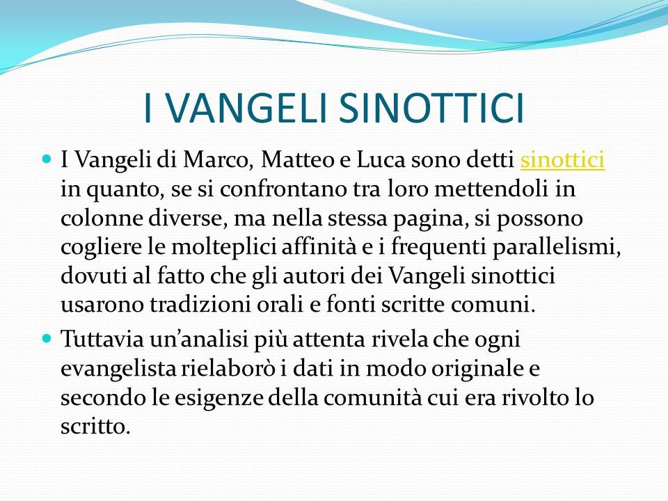 I VANGELI SINOTTICI I Vangeli di Marco, Matteo e Luca sono detti sinottici in quanto, se si confrontano tra loro mettendoli in colonne diverse, ma nel