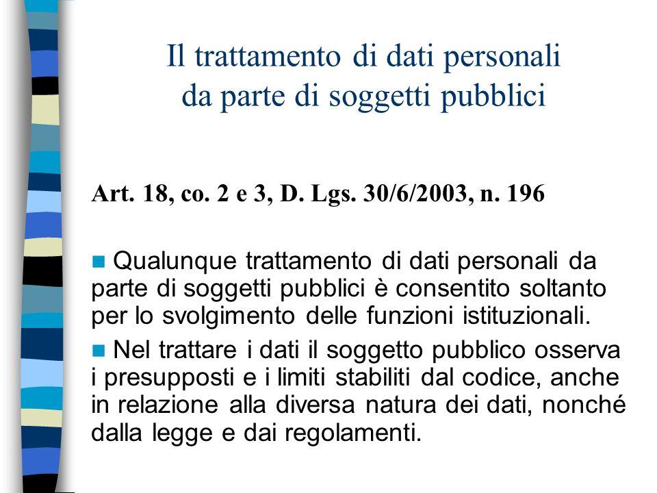 Il trattamento di dati personali da parte di soggetti pubblici Art. 18, co. 2 e 3, D. Lgs. 30/6/2003, n. 196 Qualunque trattamento di dati personali d