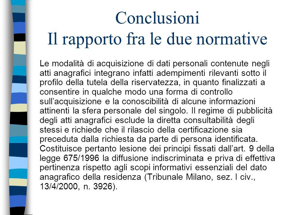 Conclusioni Il rapporto fra le due normative Le modalità di acquisizione di dati personali contenute negli atti anagrafici integrano infatti adempimen