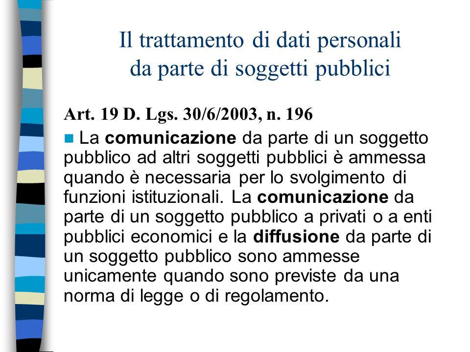 Il trattamento di dati personali da parte di soggetti pubblici Art. 19 D. Lgs. 30/6/2003, n. 196 La comunicazione da parte di un soggetto pubblico ad
