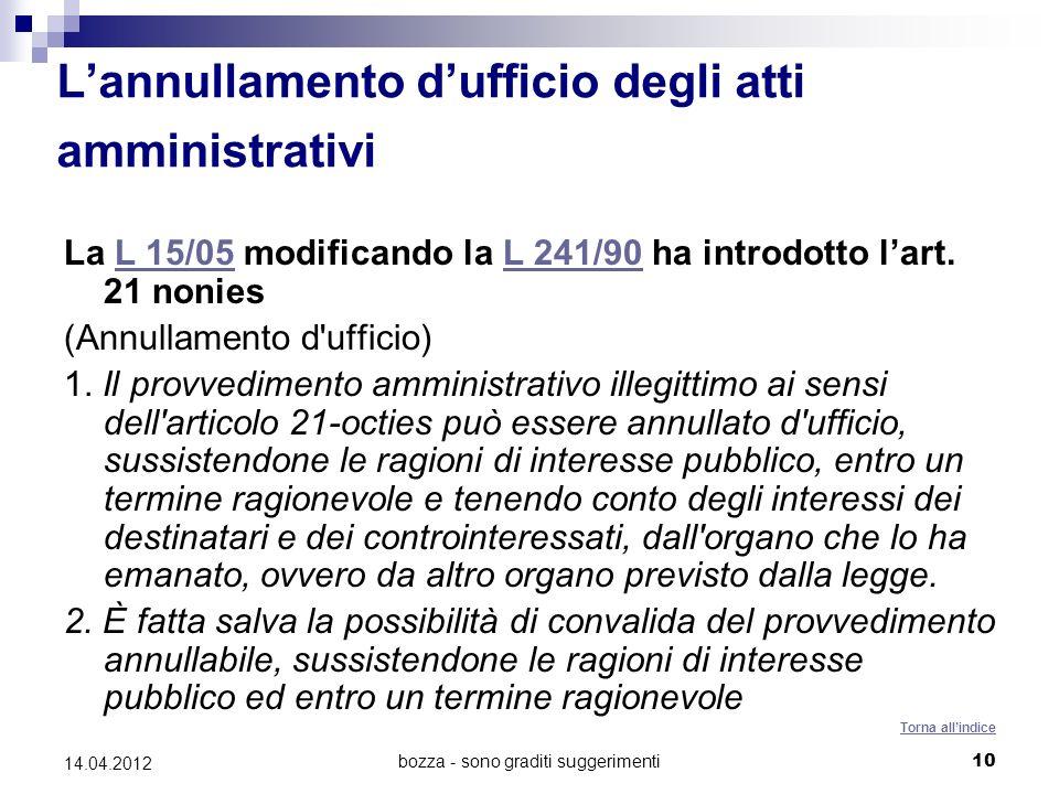 bozza - sono graditi suggerimenti10 14.04.2012 Lannullamento dufficio degli atti amministrativi La L 15/05 modificando la L 241/90 ha introdotto lart.