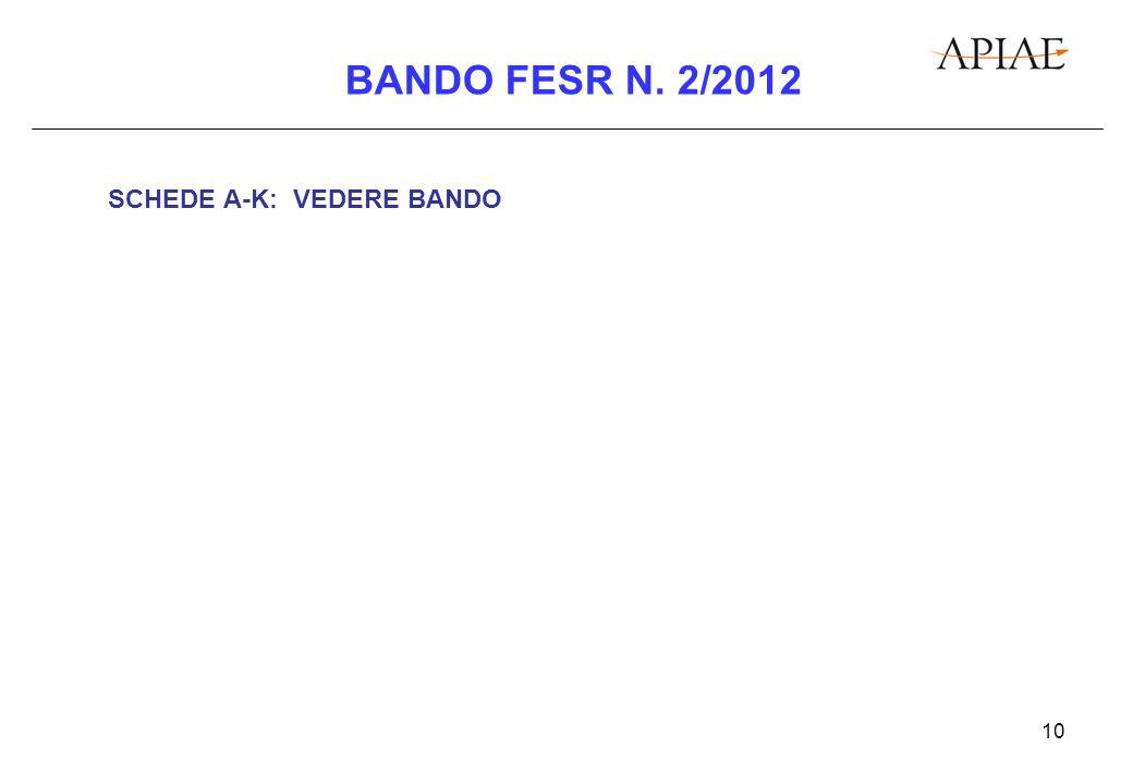 10 BANDO FESR N. 2/2012 SCHEDE A-K: VEDERE BANDO