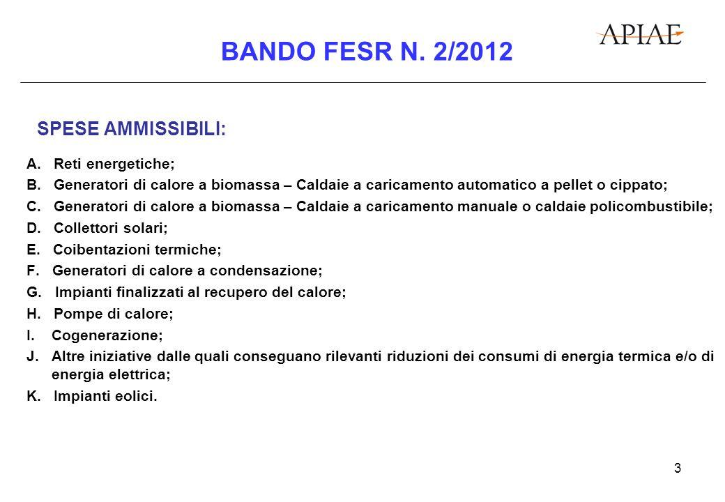3 BANDO FESR N. 2/2012 SPESE AMMISSIBILI: A. Reti energetiche; B.