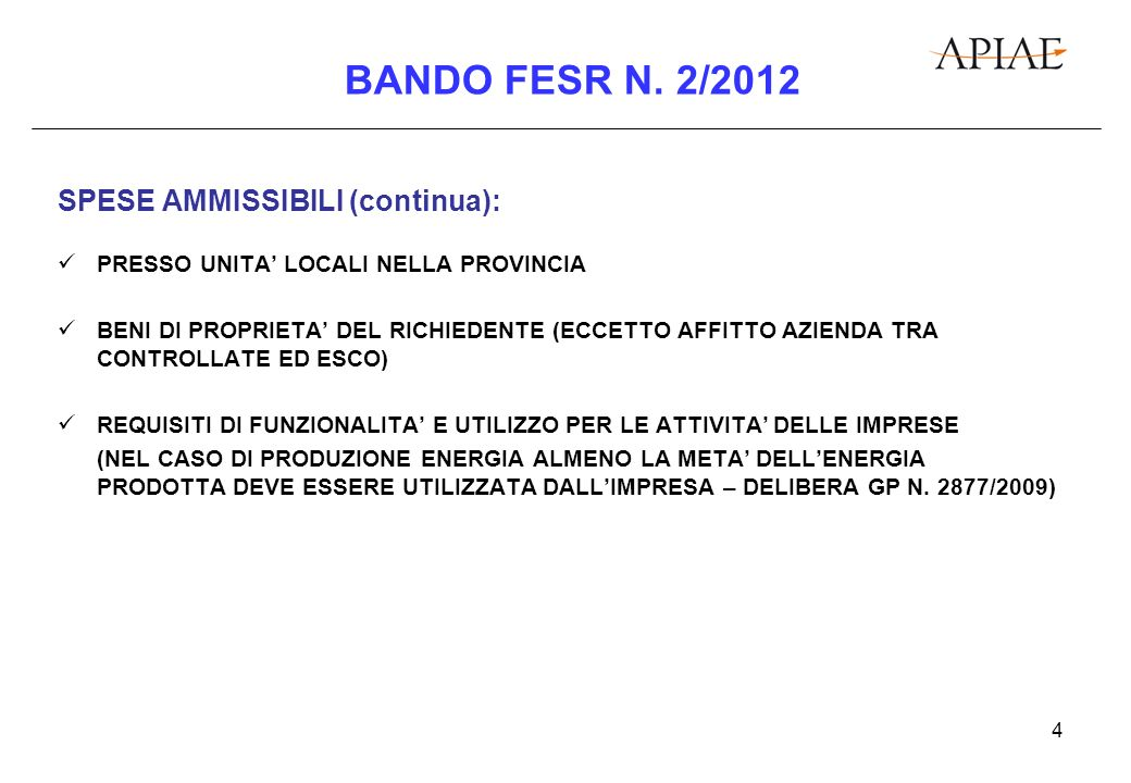 5 BANDO FESR N.