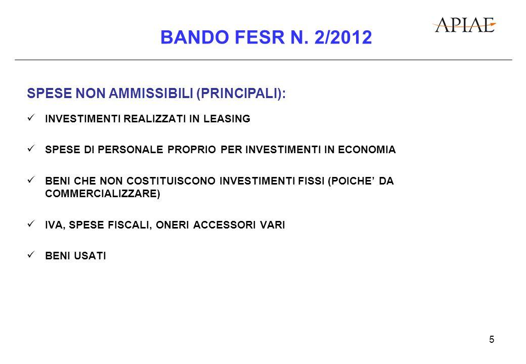 6 BANDO FESR N.2/2012 CALCOLO DEL CONTRIBUTO (REGOLAMENTO CE N.