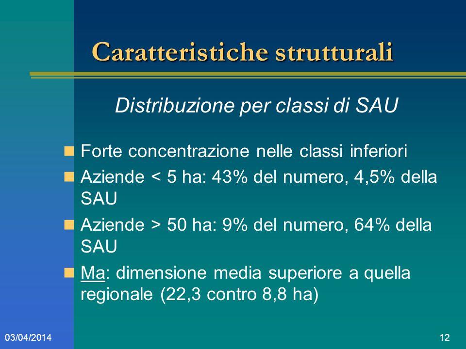 1203/04/2014 Caratteristiche strutturali Distribuzione per classi di SAU Forte concentrazione nelle classi inferiori Aziende < 5 ha: 43% del numero, 4,5% della SAU Aziende > 50 ha: 9% del numero, 64% della SAU Ma: dimensione media superiore a quella regionale (22,3 contro 8,8 ha)