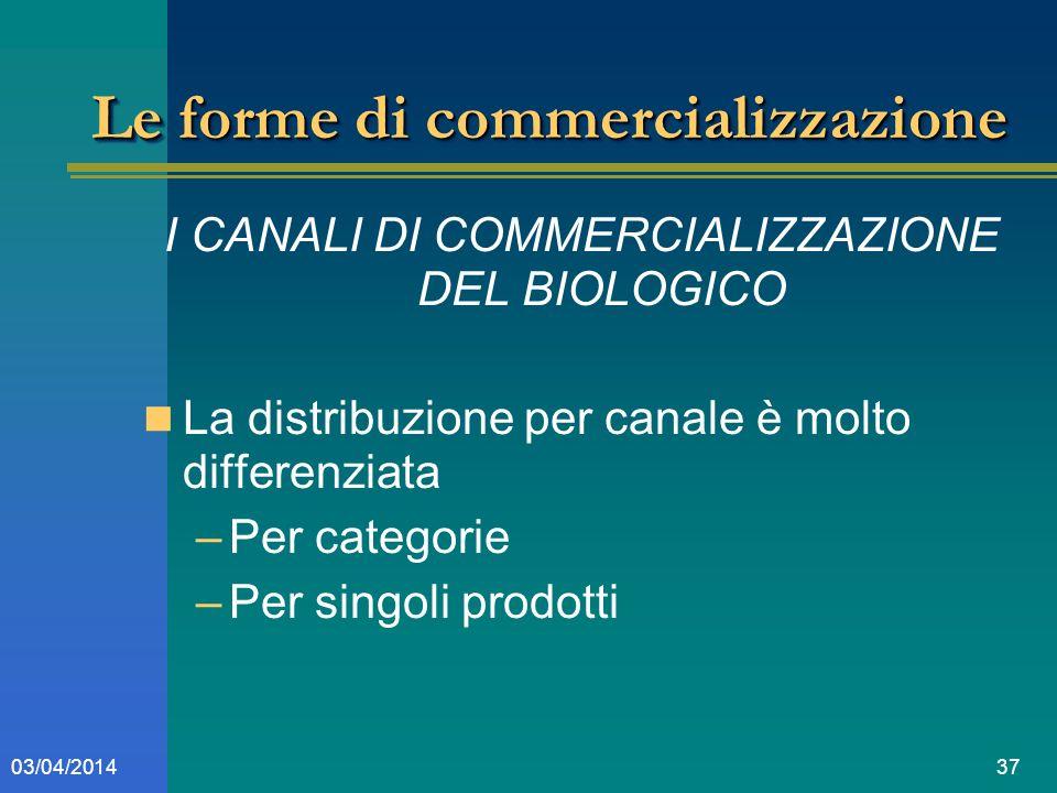 3703/04/2014 Le forme di commercializzazione I CANALI DI COMMERCIALIZZAZIONE DEL BIOLOGICO La distribuzione per canale è molto differenziata –Per categorie –Per singoli prodotti