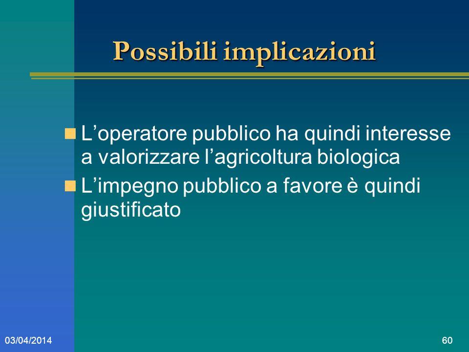 6003/04/2014 Possibili implicazioni Loperatore pubblico ha quindi interesse a valorizzare lagricoltura biologica Limpegno pubblico a favore è quindi giustificato