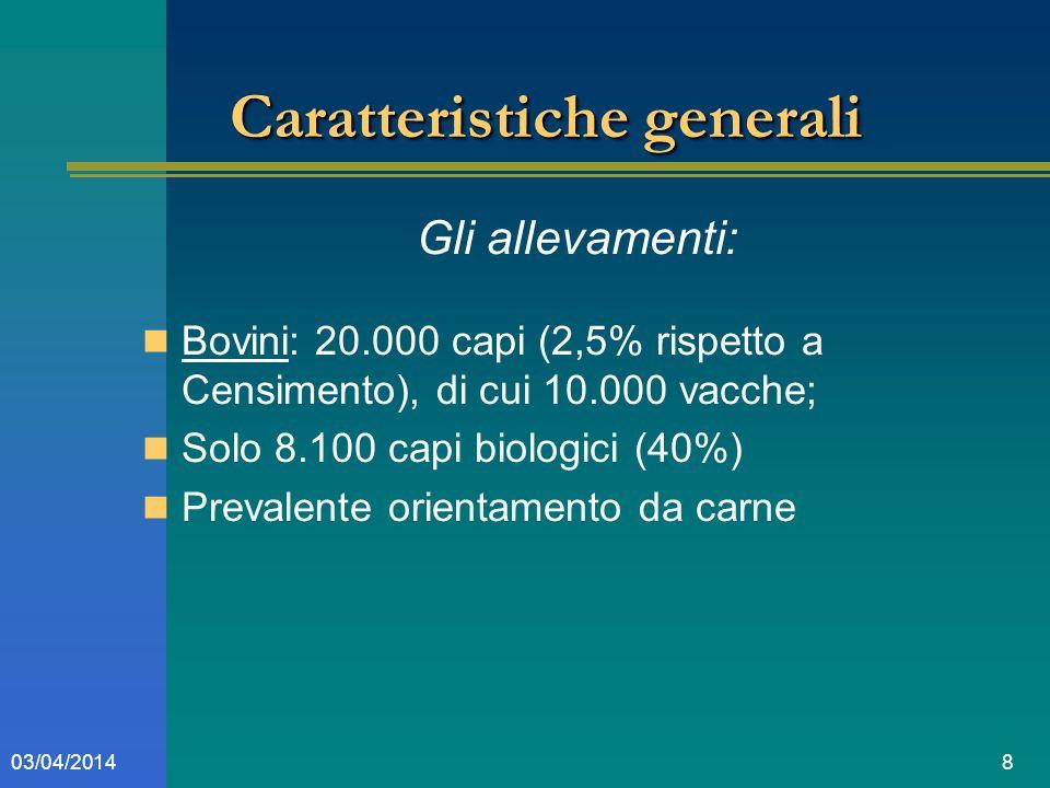 803/04/2014 Caratteristiche generali Gli allevamenti: Bovini: 20.000 capi (2,5% rispetto a Censimento), di cui 10.000 vacche; Solo 8.100 capi biologici (40%) Prevalente orientamento da carne