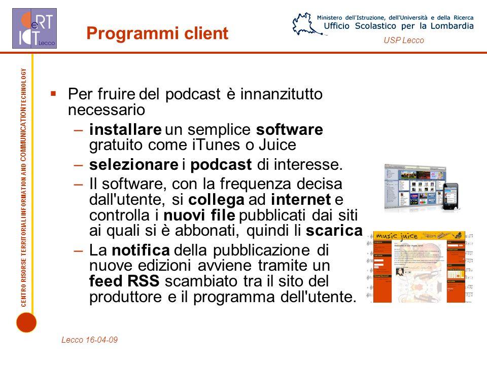 CENTRO RISORSE TERRITORIALI INFORMATION AND COMMUNICATION TECHNOLOGY USP Lecco Automatici e off-line.