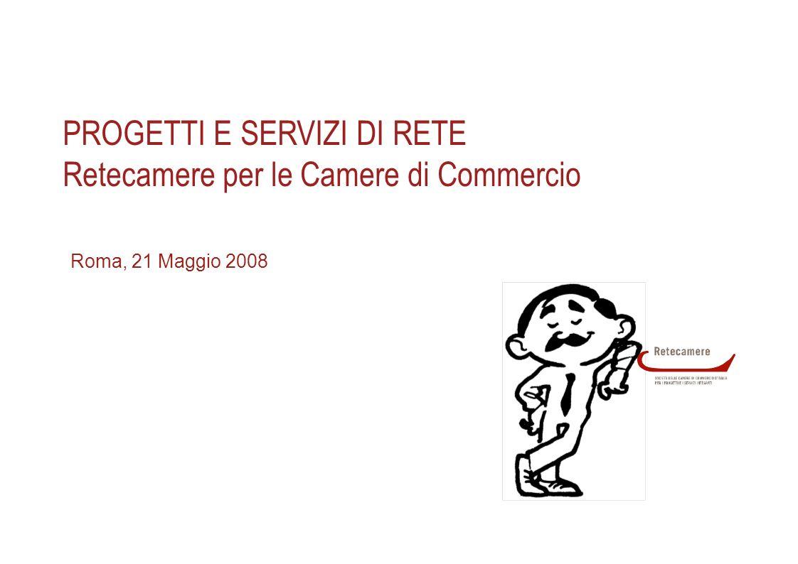 1 PROGETTI E SERVIZI DI RETE Retecamere per le Camere di Commercio Roma, 21 Maggio 2008