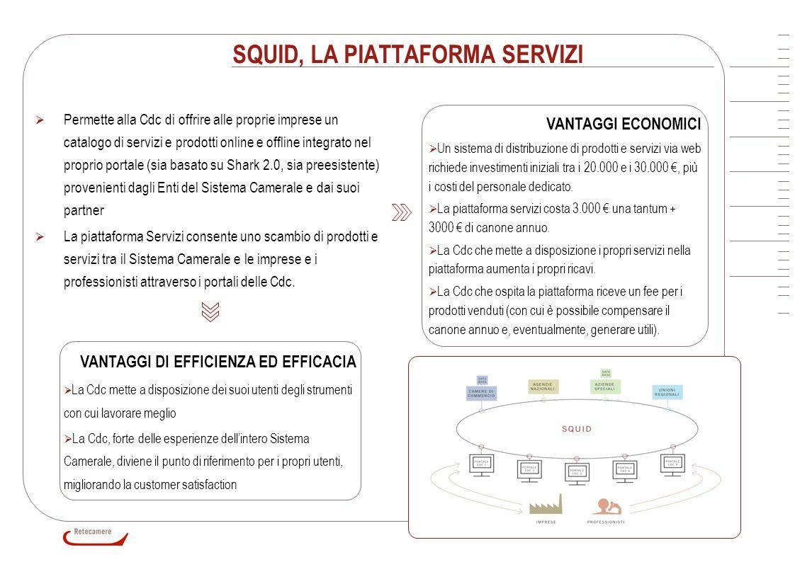 10 SQUID, LA PIATTAFORMA SERVIZI VANTAGGI ECONOMICI Un sistema di distribuzione di prodotti e servizi via web richiede investimenti iniziali tra i 20.
