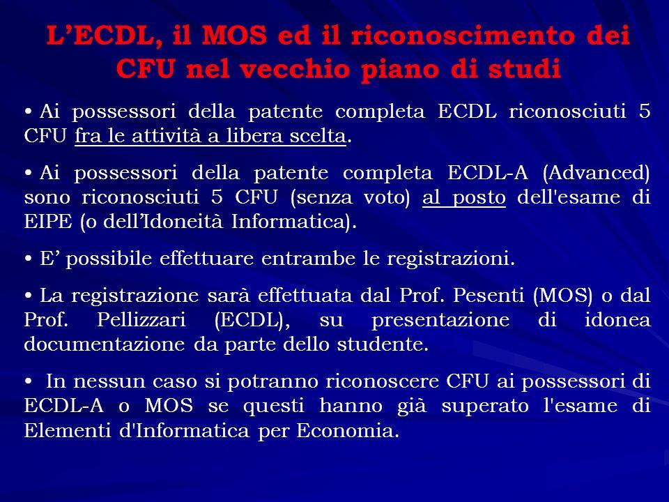 La conoscenza del computer e degli applicativi La patente europea del computer (ECDL, European computer driving licence) certifica la preparazione informatica di base.
