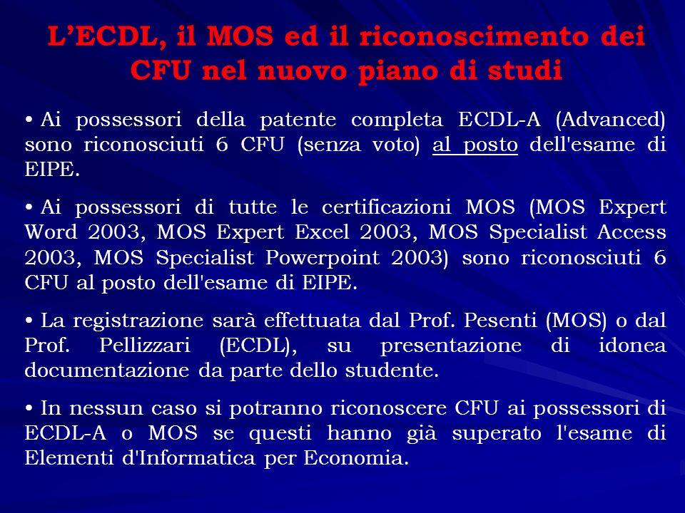 LECDL, il MOS ed il riconoscimento dei CFU nel vecchio piano di studi Ai possessori della patente completa ECDL riconosciuti 5 CFU fra le attività a libera scelta.