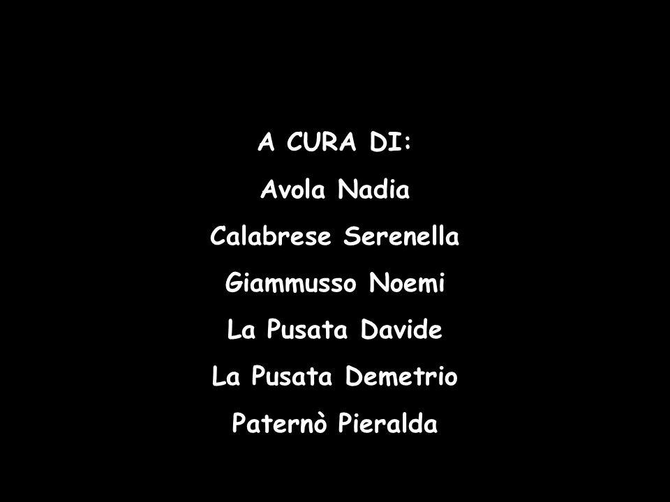 A CURA DI: Avola Nadia Calabrese Serenella Giammusso Noemi La Pusata Davide La Pusata Demetrio Paternò Pieralda