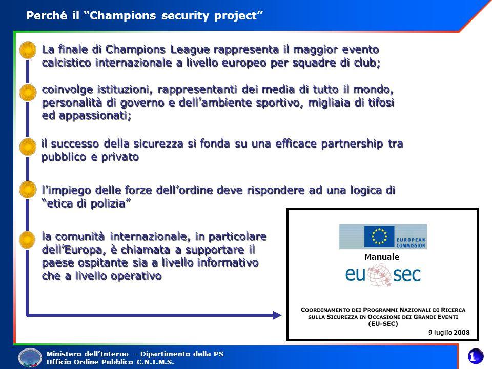 Ministero dellInterno - Dipartimento della PS Ufficio Ordine Pubblico C.N.I.M.S. Perché il Champions security project La finale di Champions League ra