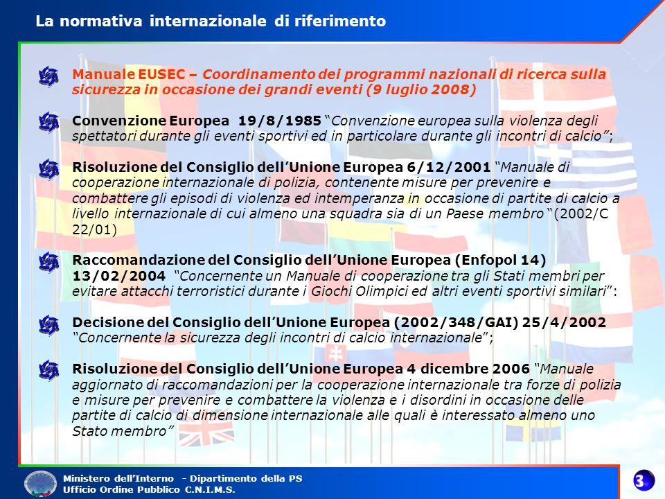 Ministero dellInterno - Dipartimento della PS Ufficio Ordine Pubblico C.N.I.M.S. Manuale EUSEC – Coordinamento dei programmi nazionali di ricerca sull