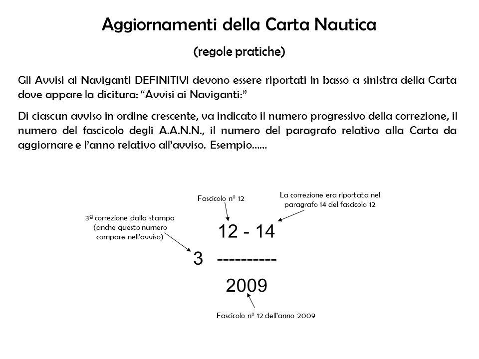 Aggiornamenti della Carta Nautica (regole pratiche) Gli Avvisi ai Naviganti DEFINITIVI devono essere riportati in basso a sinistra della Carta dove ap