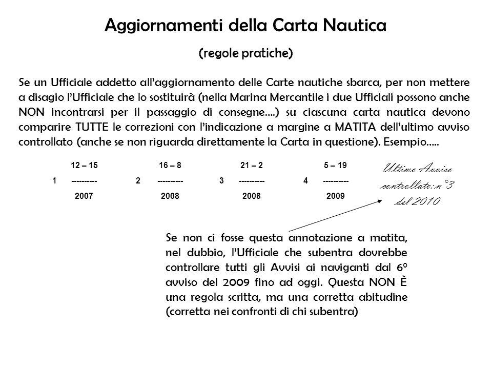Aggiornamenti della Carta Nautica (regole pratiche) Se un Ufficiale addetto allaggiornamento delle Carte nautiche sbarca, per non mettere a disagio lU