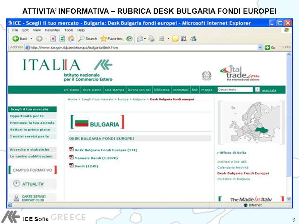 ATTIVITA INFORMATIVA – RUBRICA DESK BULGARIA FONDI EUROPEI 3 ICE Sofia