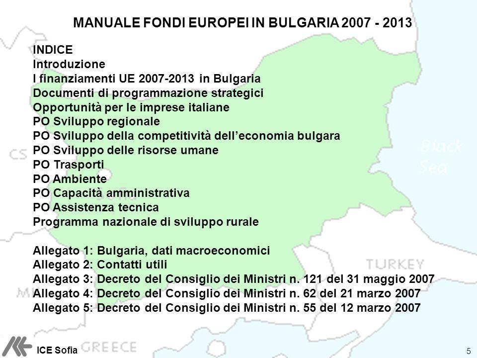 MANUALE FONDI EUROPEI IN BULGARIA 2007 - 2013 INDICE Introduzione I finanziamenti UE 2007-2013 in Bulgaria Documenti di programmazione strategici Oppo