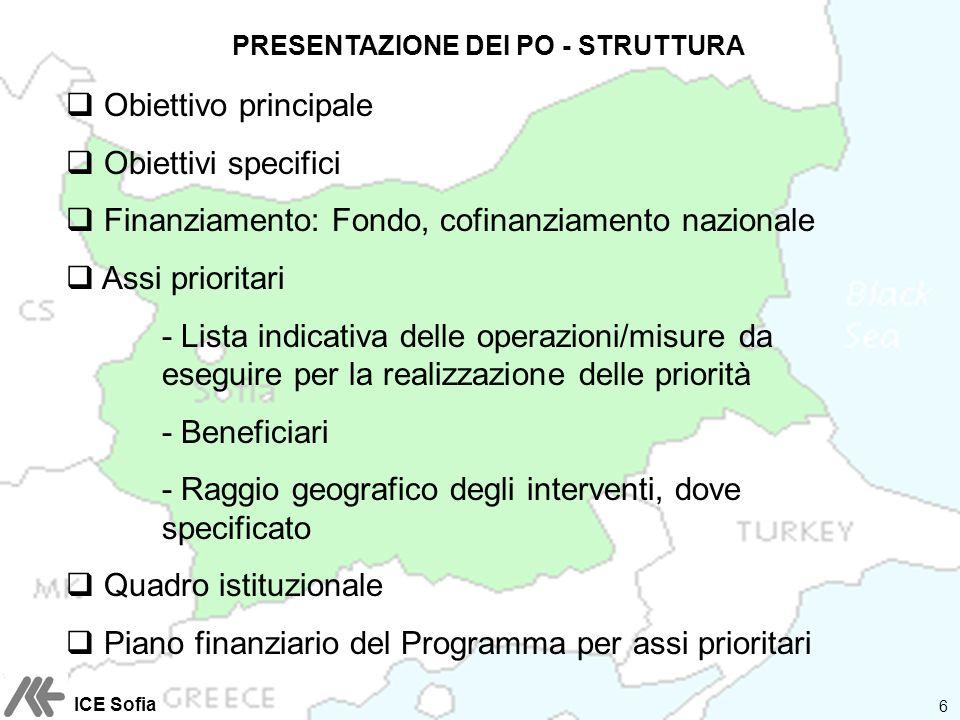 PRESENTAZIONE DEI PO - STRUTTURA Obiettivo principale Obiettivi specifici Finanziamento: Fondo, cofinanziamento nazionale Assi prioritari - Lista indi