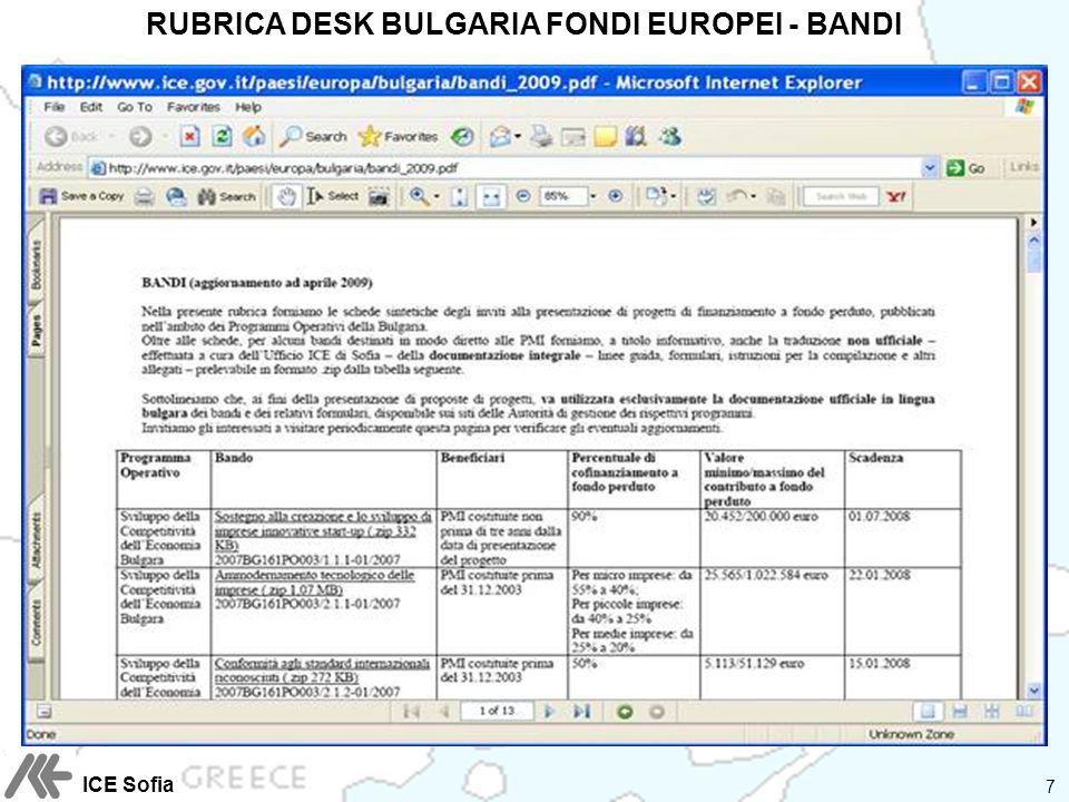 RUBRICA DESK BULGARIA FONDI EUROPEI - BANDI 7 ICE Sofia