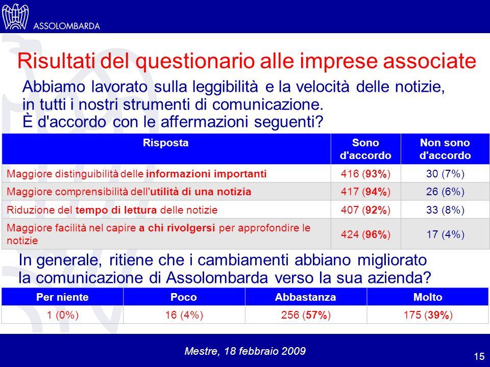 Mestre, 18 febbraio 2009 Abbiamo lavorato sulla leggibilità e la velocità delle notizie, in tutti i nostri strumenti di comunicazione.