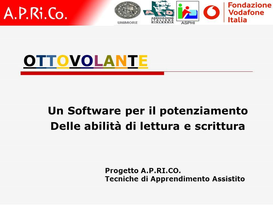 OTTOVOLANTEOTTOVOLANTE Un Software per il potenziamento Delle abilità di lettura e scrittura Progetto A.P.RI.CO. Tecniche di Apprendimento Assistito