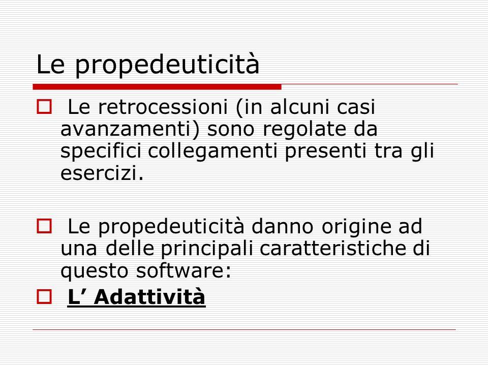 Le propedeuticità Le retrocessioni (in alcuni casi avanzamenti) sono regolate da specifici collegamenti presenti tra gli esercizi. Le propedeuticità d