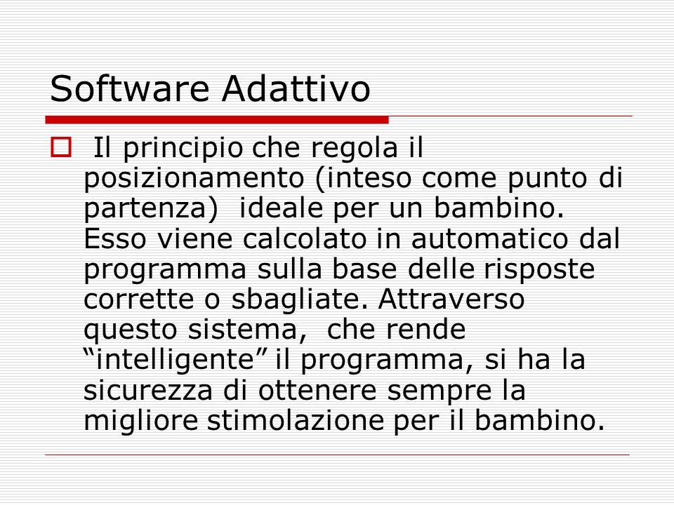 Software Adattivo Il principio che regola il posizionamento (inteso come punto di partenza) ideale per un bambino. Esso viene calcolato in automatico