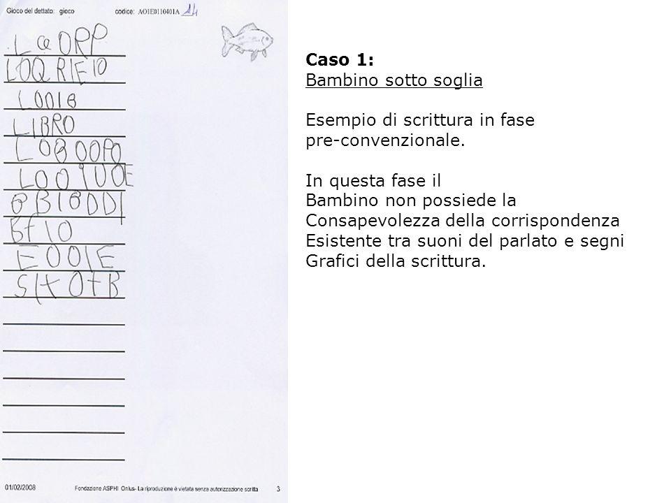 Caso 1: Bambino sotto soglia Esempio di scrittura in fase pre-convenzionale. In questa fase il Bambino non possiede la Consapevolezza della corrispond