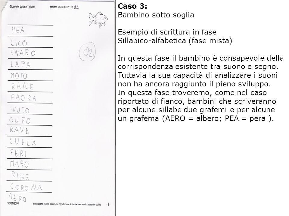 Caso 3: Bambino sotto soglia Esempio di scrittura in fase Sillabico-alfabetica (fase mista) In questa fase il bambino è consapevole della corrispondenza esistente tra suono e segno.