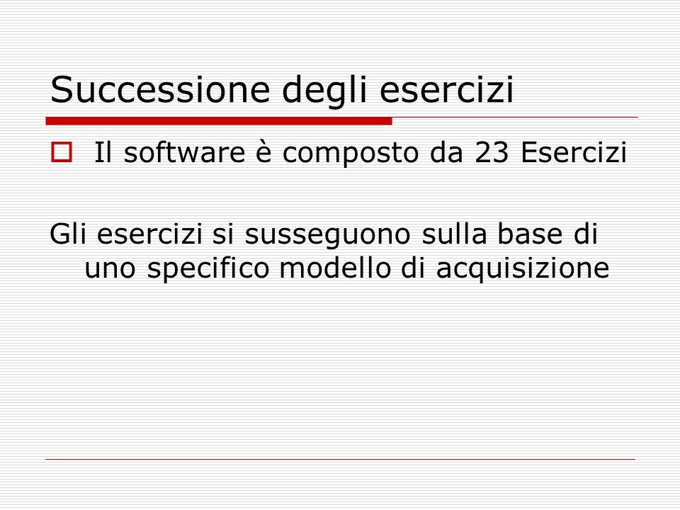 Successione degli esercizi Il software è composto da 23 Esercizi Gli esercizi si susseguono sulla base di uno specifico modello di acquisizione
