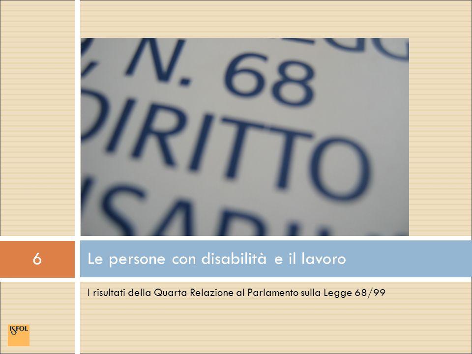 6 I risultati della Quarta Relazione al Parlamento sulla Legge 68/99 Le persone con disabilità e il lavoro