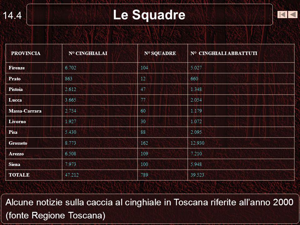 Le Squadre 14.4 Alcune notizie sulla caccia al cinghiale in Toscana riferite allanno 2000 (fonte Regione Toscana) PROVINCIA N° CINGHIALAI N° SQUADREN°