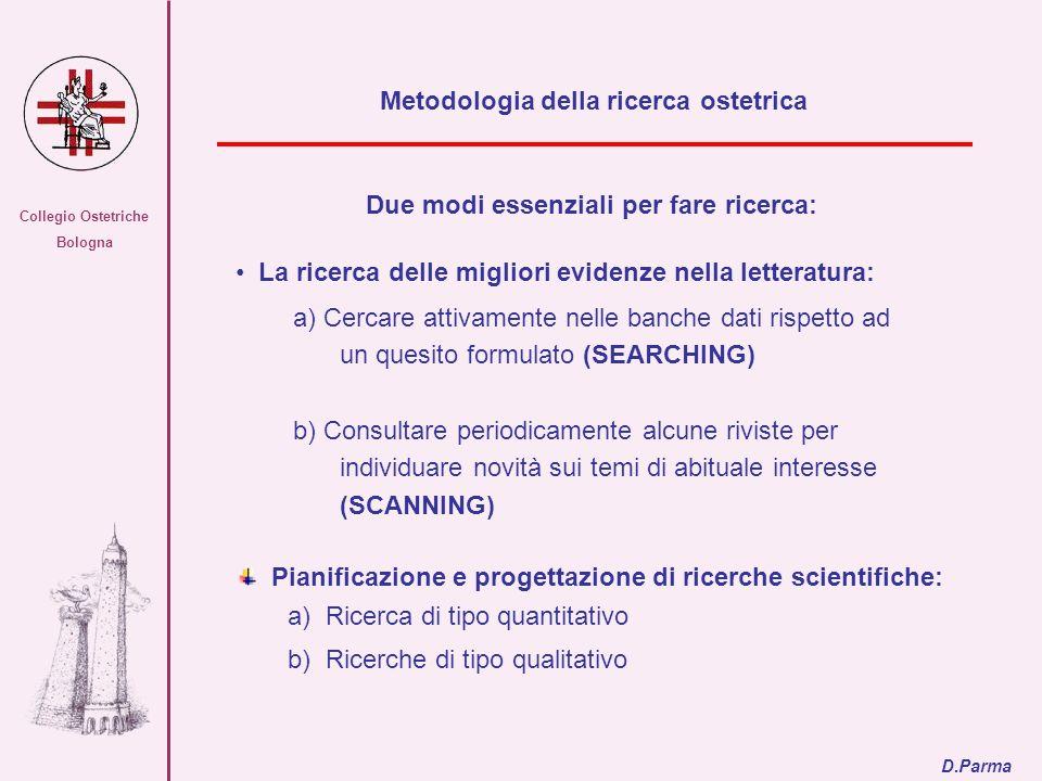 Collegio Ostetriche Bologna Due modi essenziali per fare ricerca: La ricerca delle migliori evidenze nella letteratura: a) Cercare attivamente nelle b