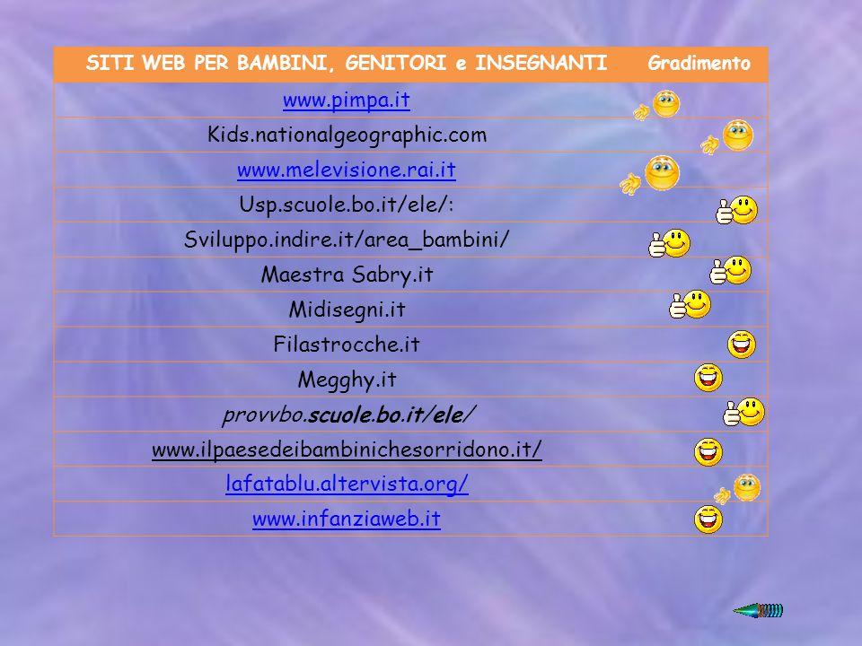 SITI WEB PER BAMBINI, GENITORI e INSEGNANTIGradimento www.pimpa.it Kids.nationalgeographic.com www.melevisione.rai.it Usp.scuole.bo.it/ele/: Sviluppo.