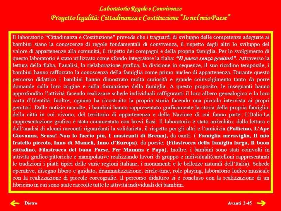 Avanti 2-45 Dietro Laboratorio Regole e Convivenze Progetto legalità: Cittadinanza e Costituzione Io nel mio Paese Il laboratorio Cittadinanza e Costi