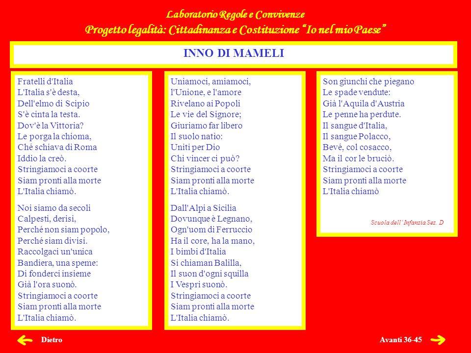 Avanti 36-45 Dietro Fratelli d'Italia L'Italia s'è desta, Dell'elmo di Scipio S'è cinta la testa. Dov'è la Vittoria? Le porga la chioma, Ché schiava d