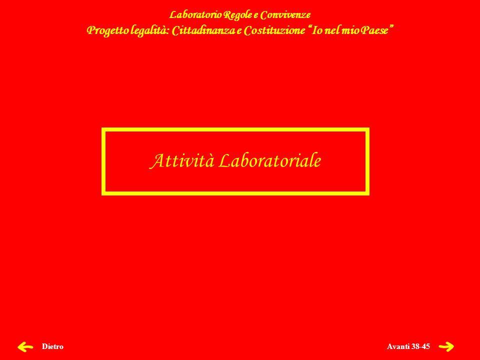 Avanti 38-45 Dietro Attività Laboratoriale Laboratorio Regole e Convivenze Progetto legalità: Cittadinanza e Costituzione Io nel mio Paese