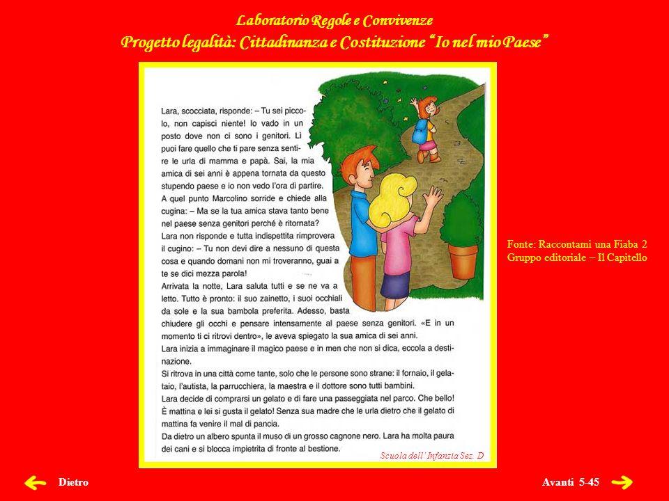 Avanti 5-45 Scuola dell Infanzia Sez. D Dietro Laboratorio Regole e Convivenze Progetto legalità: Cittadinanza e Costituzione Io nel mio Paese Scuola