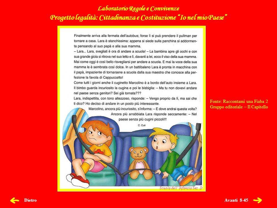 Avanti 29-45 Dietro Canti e Filastrocche Laboratorio Regole e Convivenze Progetto legalità: Cittadinanza e Costituzione Io nel mio Paese