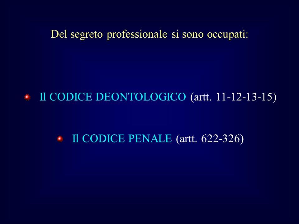 Del segreto professionale si sono occupati: Il CODICE DEONTOLOGICO (artt.